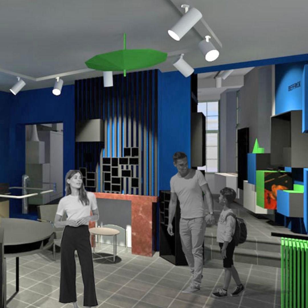 Aménagements intérieurs & scénographie de la maison de l'UNESCO -Mons-